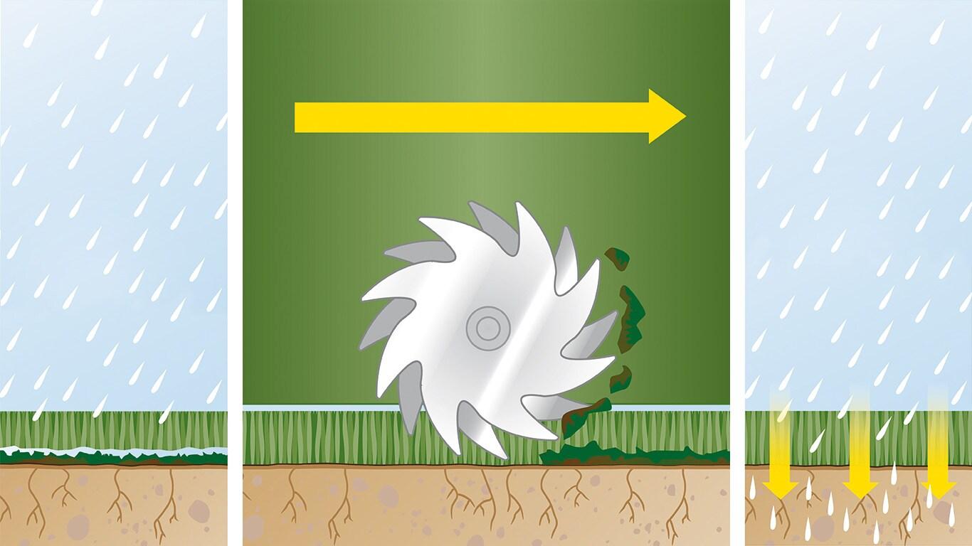 Pożegnaj się zmchem: Aby utrzymać zdrowy trawnik, należy go odpowiednio pielęgnować. Wiąże się to zregularną wertykulacją – procesem fizycznego usuwania ztrawnika nagromadzonego filcu imchu, co ułatwia składnikom odżywczym wnikanie do gleby.